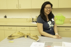 Staff Helina Chin talks shark teeth in the Fishbowl