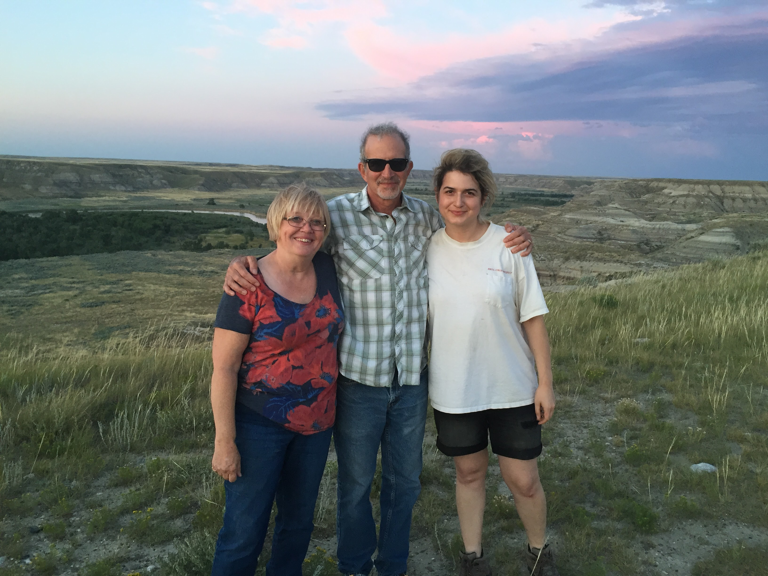 Lila Redding, Mark and Beth Goodwin on Dan and Lila Redding's farm in Montana, 2016