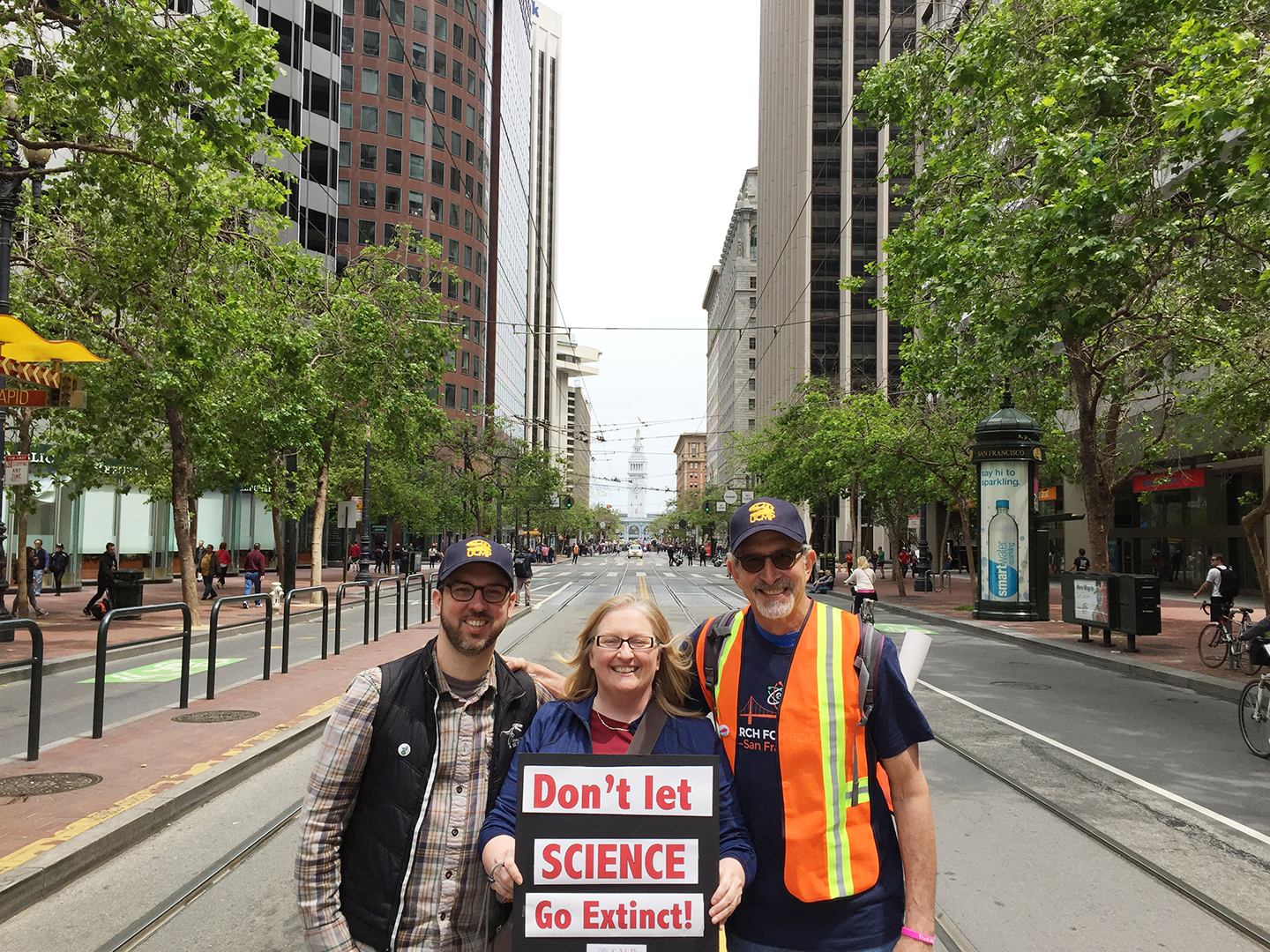Dave Evans, Pat Holroyd and Mark at the March for Science 2017