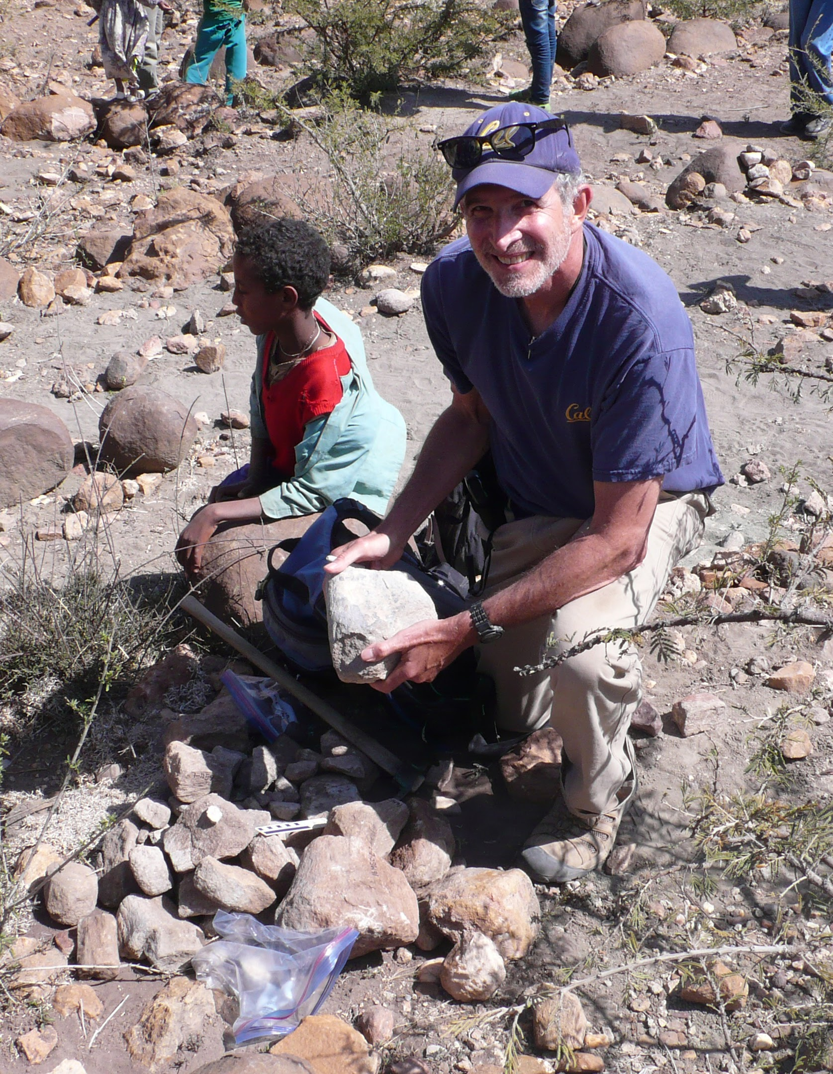 Mark in Ethiopia collecting a sauropod fossil, 2016