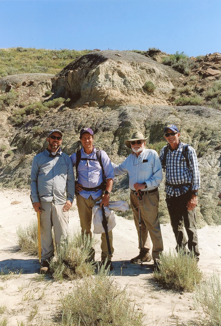 From left to right: Dave Evans, Greg Wilson, Bill Clemens, and Mark Goodwin at the Hell Creek Formation in Montana, summer 2018. All photos courtesy of Mark Goodwin.